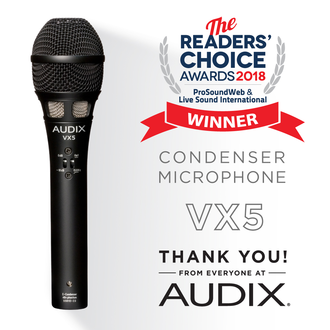 Audix VX5 получил награду Readers Choice Award от  ProsoundWeb & Live Sound International
